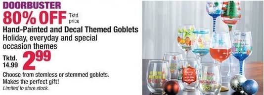 Boscov's Black Friday: Hand Painted and Decal Themed Goblets for $2.99