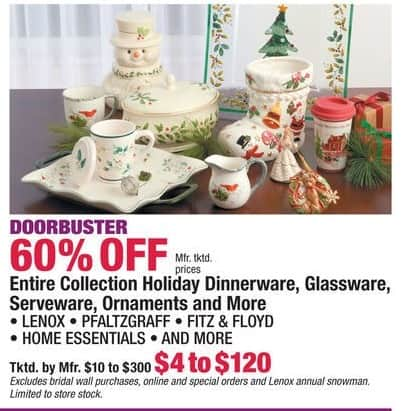 Boscov's Black Friday: Entire Collection of Lenox, Pfaltzgraff, Home Essentials & More Holiday Dinnerware, Glassware, Serveware, Ornaments & More - 60% Off