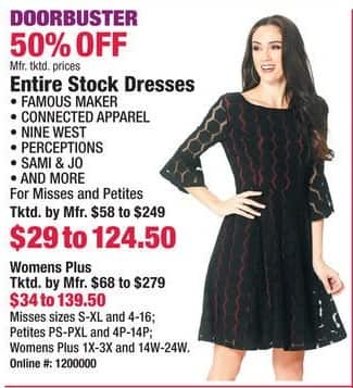 Boscov's Black Friday: Entire Stock of Famous Maker, Connected Apparel, Nine West, Perceptions & More Dresses - 50% Off