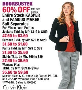 Boscov's Black Friday: Entire Stock of Kasper, Calvin Klein & Famous Maker Suit Separates - 60% Off