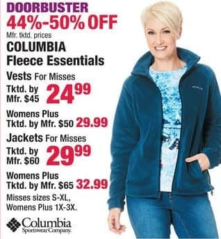 Boscov's Black Friday: Columbia Fleece Essentials for Her for $24.99 - $32.99