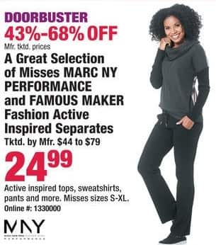 Boscov's Black Friday: A Great Collection of Misses Marc NY Performance & Famous Maker Active Inspired Separates for $24.99