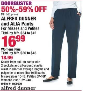 Boscov's Black Friday: Alfred Dunner & Alia Pants for Her for $16.99 - $18.99