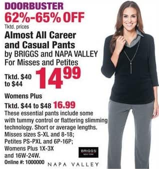 Boscov's Black Friday: Almost All Career & Casual Pants by Briggs & Napa Valley for Her for $14.99 - $16.99