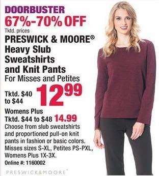 Boscov's Black Friday: Preswick & Moore Heavy Slub Sweatshirts & Knit Pants for $12.99 - $14.99