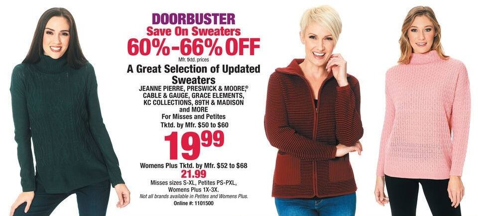 Boscov's Black Friday: Jeanne Pierre, Preswick & Moore, Cable & Gauge, Grace Elements, KC Collections & More Sweaters for $19.99 - $21.99