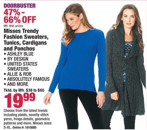 Boscov's Black Friday: Misses Trendy Fashion Sweaters, Tunics, Cardigans & Ponchos for $19.99