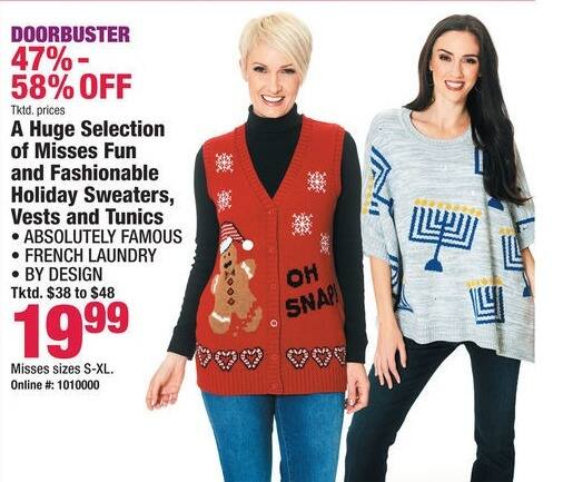 Boscov's Black Friday: A HUGE Selection of Misses Fun and Fashionable Holiday Sweaters, Vests & Tunics for $19.99