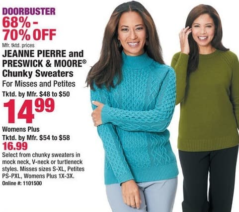Boscov's Black Friday: Jeanne Pierre and Preswick & Moore Chunky Sweaters for $14.99 - $16.99