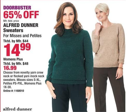 Boscov's Black Friday: Alfred Dunner Sweaters for Her for $14.99 - $16.99
