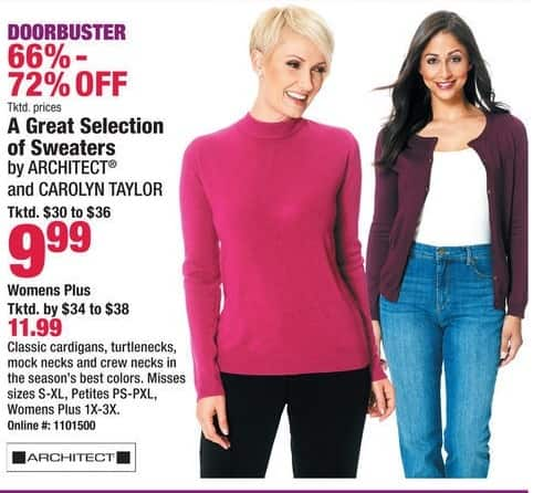 Boscov's Black Friday: A Great Selection of Sweaters from Architect & Carolyn Taylor for $9.99 - $11.99