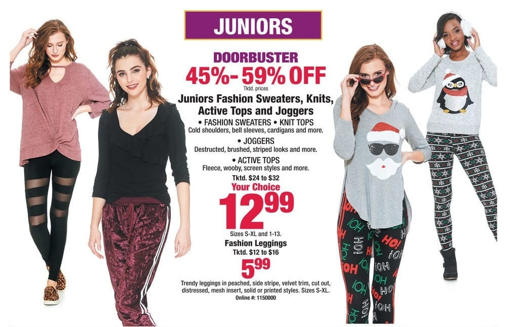 Boscov's Black Friday: Juniors Fashion Sweaters, Knits, Active Tops, Leggings & Joggers for $5.99 - $12.99