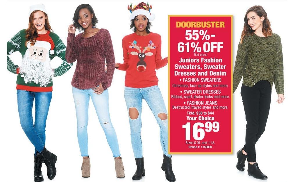 Boscov's Black Friday: Juniors Fashion Sweaters, Sweater Dresses & Denim for $16.99