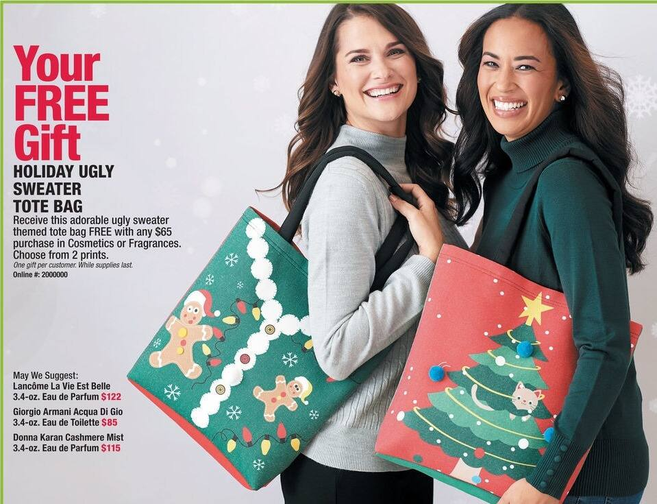 Boscov's Black Friday: Purchase $65 or More in Cosmetics or Fragrances and Get an Ugly Sweater Tote Bag for Free