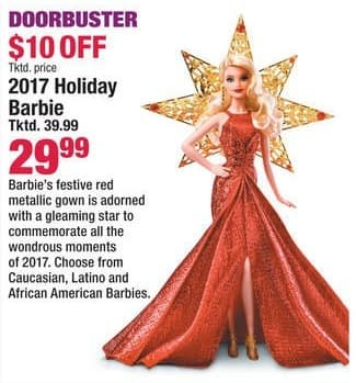 Boscov's Black Friday: 2017 Holiday Barbie for $29.99