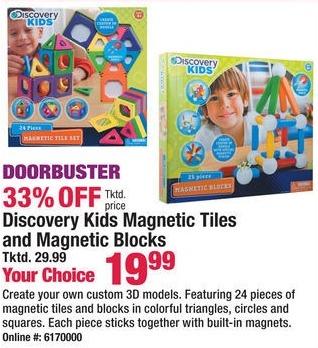 Boscov's Black Friday: Discovery Kids Magnetic Tiles & Magnetic Blocks for $19.99