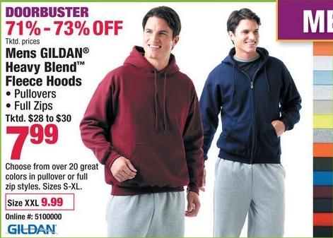 Boscov's Black Friday: Gildan Heavy Blend Fleece Hoods for Men for $7.99 - $9.99