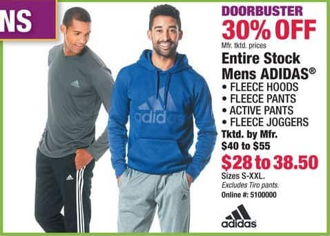 Boscov's Black Friday: Adidas Fleece Hoods, Pants, Active Pants, Joggers & More for Men - 30% Off