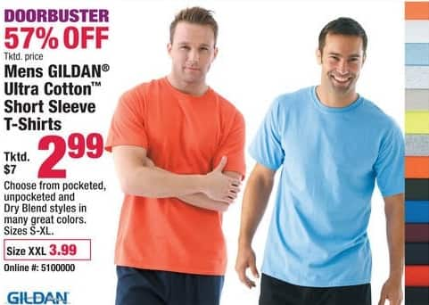 Boscov's Black Friday: Gildan Ultra Cotton Short Sleeve Shirts for $2.99 - $3.99