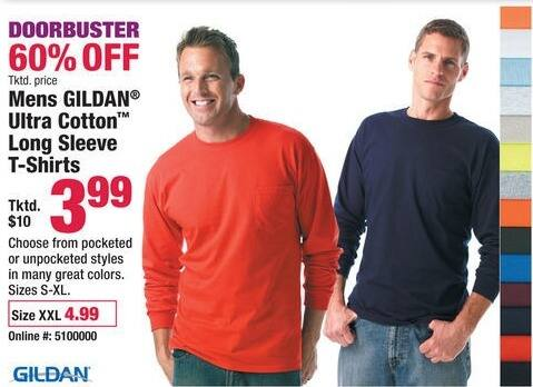 Boscov's Black Friday: Gildan Ultra Cotton Long Sleeve Shirts for $3.99 - $4.99