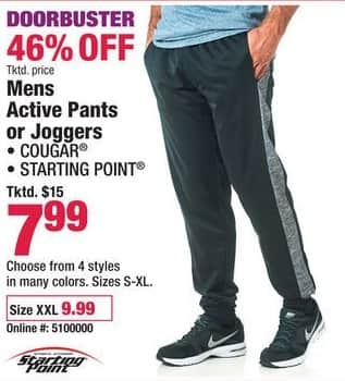 Boscov's Black Friday: Cougar & Starting Point Active Pants or Joggers for Men for $7.99 - $9.99