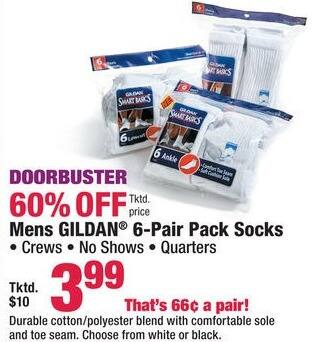 Boscov's Black Friday: Gildan 6-pr Pack Socks for Men for $3.99