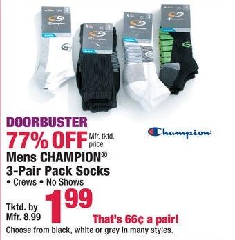 Boscov's Black Friday: Champion 3-pr Pack Socks for Men for $1.99