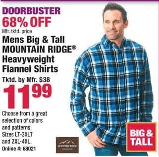 Boscov's Black Friday: Mountain Ridge Heavyweight Flannel Shirts for Big & Tall Men for $11.99