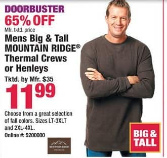 Boscov's Black Friday: Mountain Ridge Thermal Crews or Henleys for Big & Tall Men for $11.99