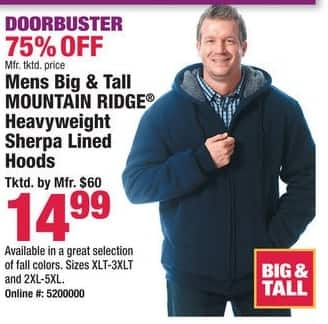 Boscov's Black Friday: Mountain Ridge Heavyweight Sherpa Lined Hoods for Big & Tall Men for $14.99