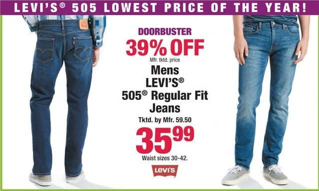Boscov's Black Friday: Levi's 505 Regular Fit Jeans for Men for $35.99