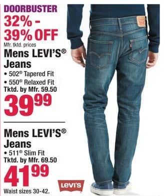 Boscov's Black Friday: Levi's Jeans 502, 511 & 550 Fit for Men for $39.99 - $41.99