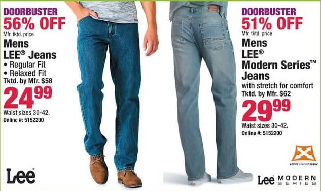 Boscov's Black Friday: Lee Regular Fit, Relaxed Fit & Modern Series Jeans for Him for $24.99 - $29.99