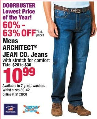 Boscov's Black Friday: Architect Jean Co. Jeans for Men for $10.99