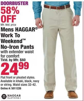 Boscov's Black Friday: Haggar Work to Weekend No Iron Pants for $24.99