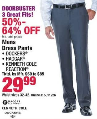 Boscov's Black Friday: Dockers, Haggar, Kenneth Cole Reaction Dress Pants for $29.99