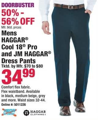 Boscov's Black Friday: Haggar Cool 18 Pro & JM Haggar Dress Pants for $34.99