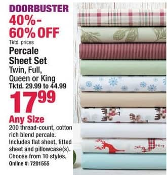 Boscov's Black Friday: Percale Sheet Set - Any Size for $17.99