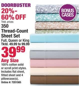 Boscov's Black Friday: 350 Thread-Count Sheet Set - Any Size for $39.99