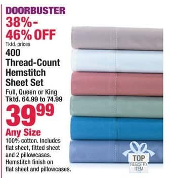 Boscov's Black Friday: 400 Thread-Count Hemstitch Sheet Set - Any Size for $39.99