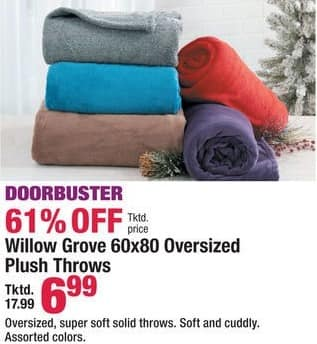Boscov's Black Friday: Willow Grove 60x80 Oversized Plush Throws for $6.99
