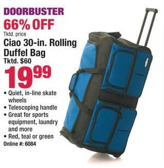 "Boscov's Black Friday: Ciao 30"" Rolling Duffel Bag for $19.99"