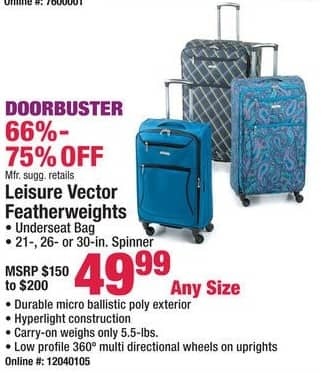 Boscov's Black Friday: Leisure Vector Featherweight Luggage - Any Size for $49.99