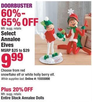 Boscov's Black Friday: Select Annalee Elves for $9.99