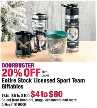 Boscov's Black Friday: Entire Stock of Licensed Sport Team Giftables - 20% Off
