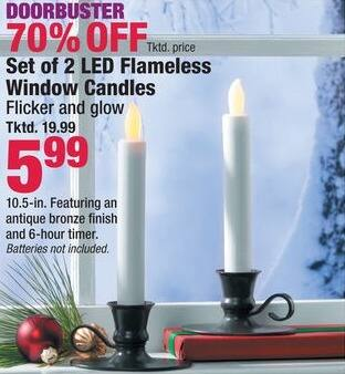 Boscov's Black Friday: Set of 2 LED Flameless Window Candles for $5.99