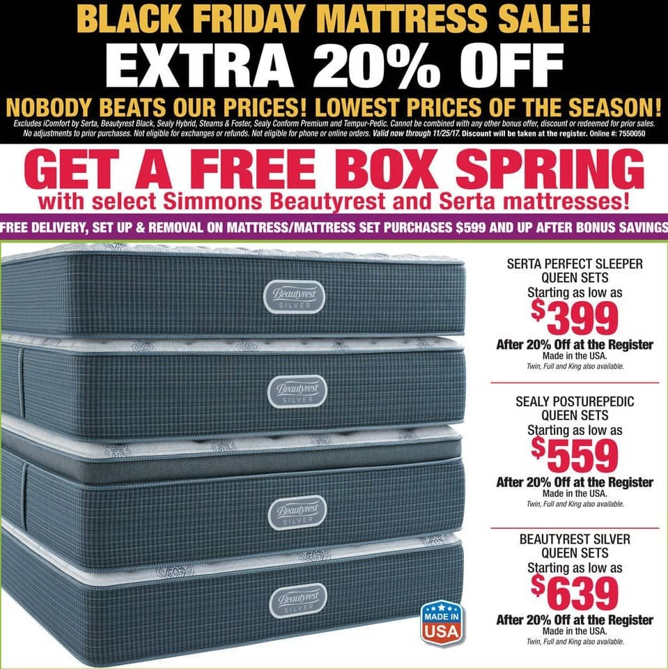 Boscov's Black Friday: Buy Select Beautyrest & Serta Mattresses & Get a Box Spring for Free