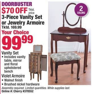 Boscov's Black Friday: 3-pc Vanity Set or Jewelry Armoire for $99.99