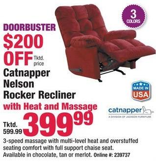 Boscov's Black Friday: Catnapper Nelson Rocker Recliner w/ Heat & Massage for $399.99