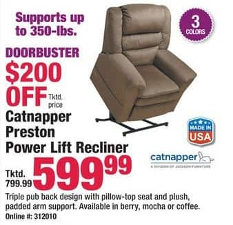 Boscov's Black Friday: Catnapper Preston Power Lift Recliner for $599.99